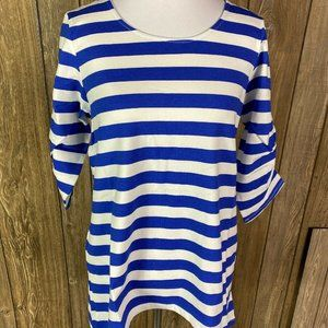 Flying Colors Blue White Stripe Shirt Size Small
